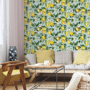 Lemon Zest Peel and Stick Wallpaper blue roomset 2