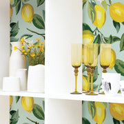 Lemon Zest Peel and Stick Wallpaper blue roomset 3