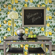 Lemon Zest Peel and Stick Wallpaper blue roomset 4