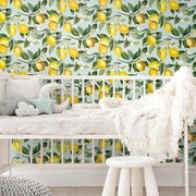 Lemon Zest Peel and Stick Wallpaper blue roomset 5