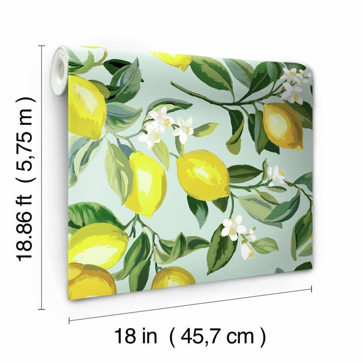 Lemon Zest Peel and Stick Wallpaper blue roll