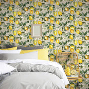 Lemon Zest Peel and Stick Wallpaper beige roomset