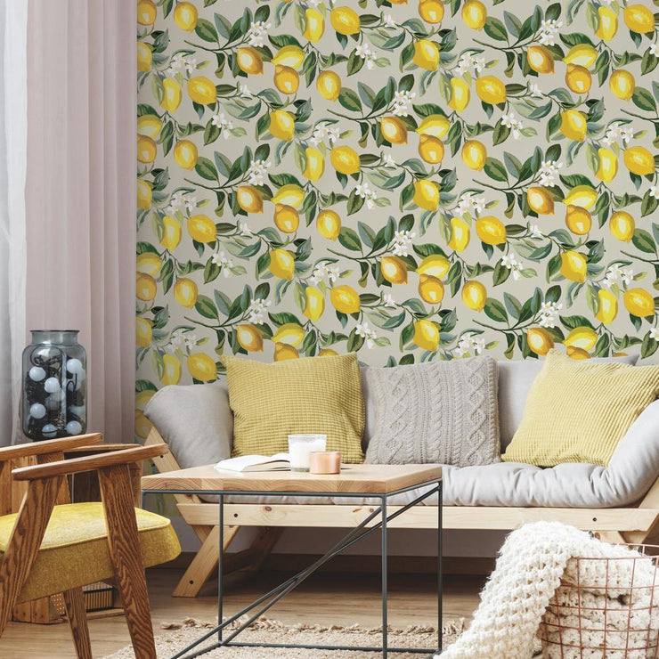 Lemon Zest Peel and Stick Wallpaper beige roomset 2