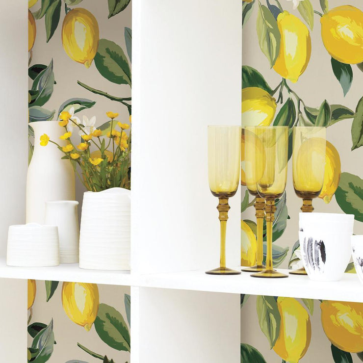 Lemon Zest Peel and Stick Wallpaper beige roomset 3