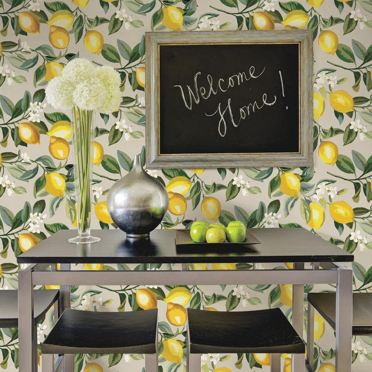 Lemon Zest Peel and Stick Wallpaper beige roomset 4