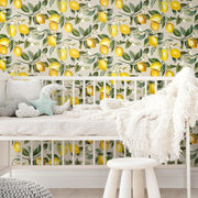Lemon Zest Peel and Stick Wallpaper beige roomset 5