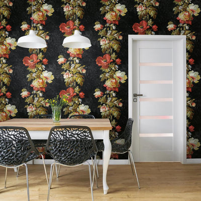 Vintage Floral Stripe Peel and Stick Wallpaper black roomset