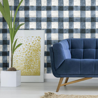 Buffalo Plaid Peel and Stick Wallpaper blue roomset