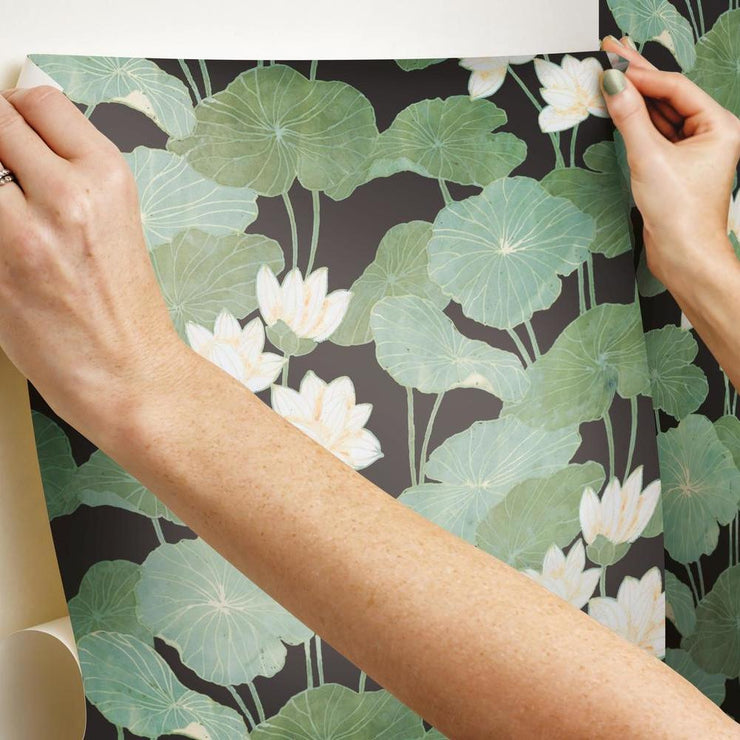 Lily Pad Peel and Stick Wallpaper hang