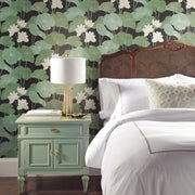Lily Pad Peel and Stick Wallpaper black roomset