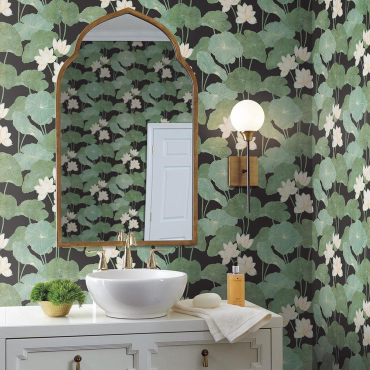 Lily Pad Peel and Stick Wallpaper black roomset 2