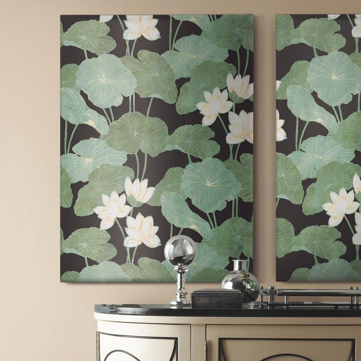 Lily Pad Peel and Stick Wallpaper black roomset 3