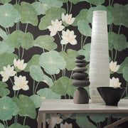Lily Pad Peel and Stick Wallpaper black roomset 4
