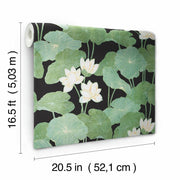 Lily Pad Peel and Stick Wallpaper black roll