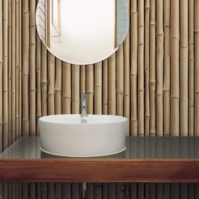 Bamboo Peel and Stick Wallpaper tan roomset 3