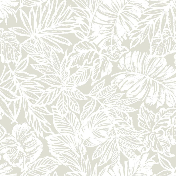 Batik Tropical Leaf Peel and Stick Wallpaper beige