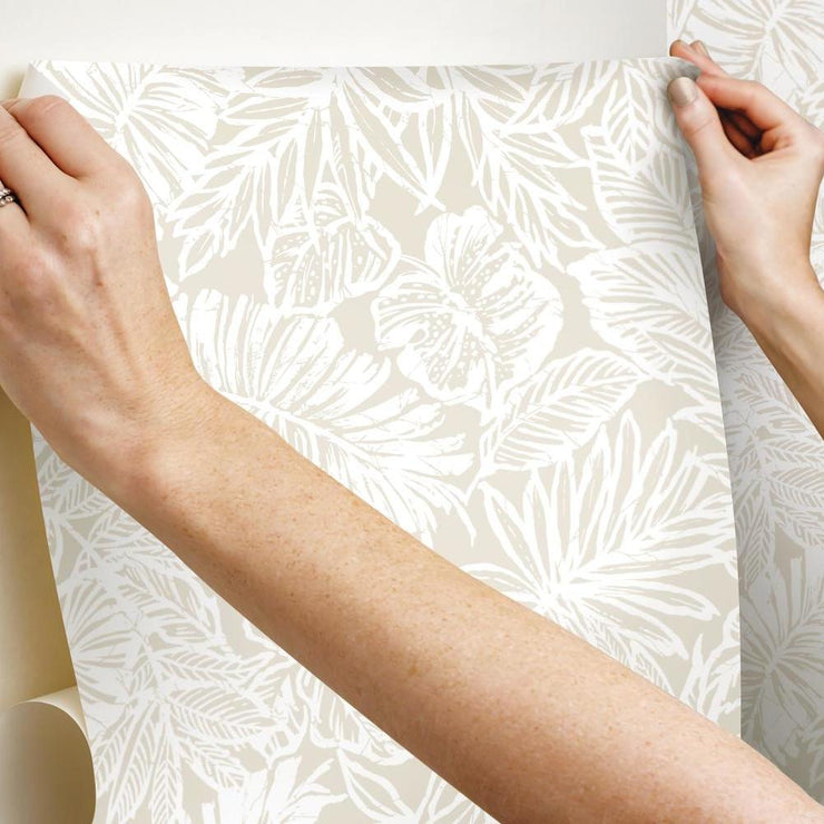 Batik Tropical Leaf Peel and Stick Wallpaper tan hang