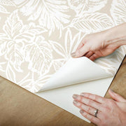 Batik Tropical Leaf Peel and Stick Wallpaper beige peel