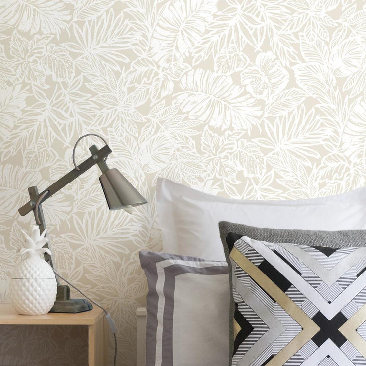 Batik Tropical Leaf Peel and Stick Wallpaper beige roomset
