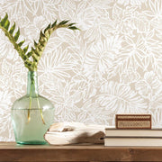 Batik Tropical Leaf Peel and Stick Wallpaper beige roomset 2