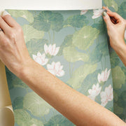 Lily Pad Peel and Stick Wallpaper blue hang