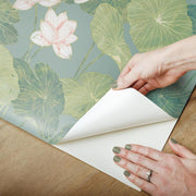 Lily Pad Peel and Stick Wallpaper blue peel