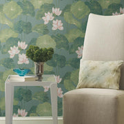Lily Pad Peel and Stick Wallpaper blue roomset