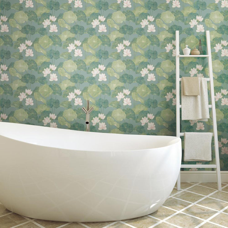 Lily Pad Peel and Stick Wallpaper blue roomset 2