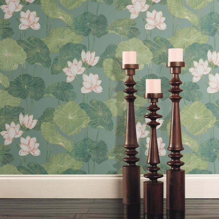 Lily Pad Peel and Stick Wallpaper blue roomset 4