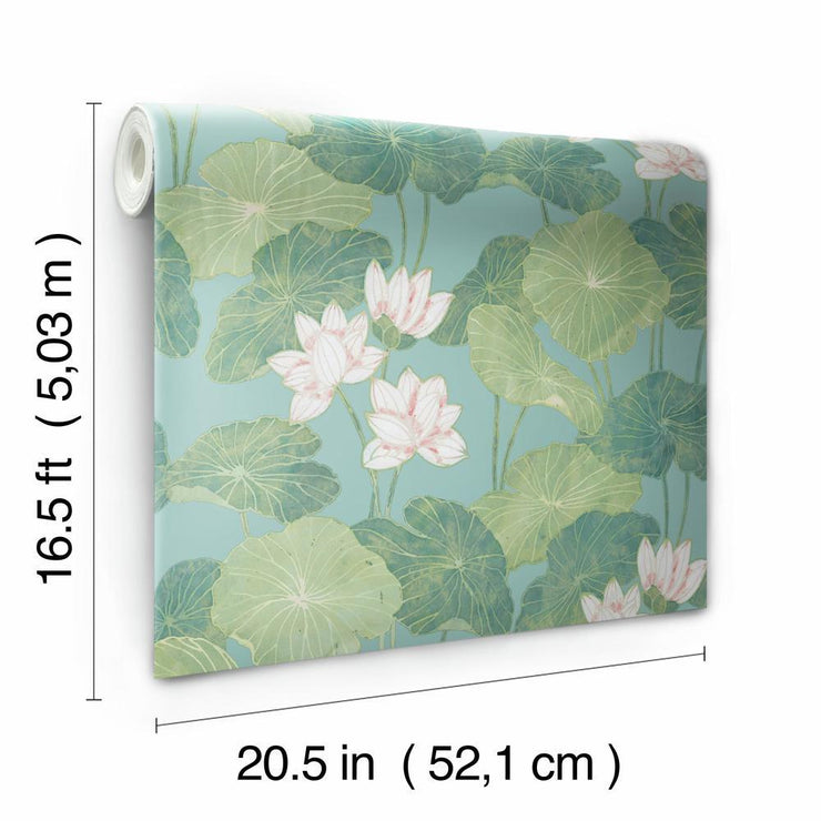 Lily Pad Peel and Stick Wallpaper blue roll