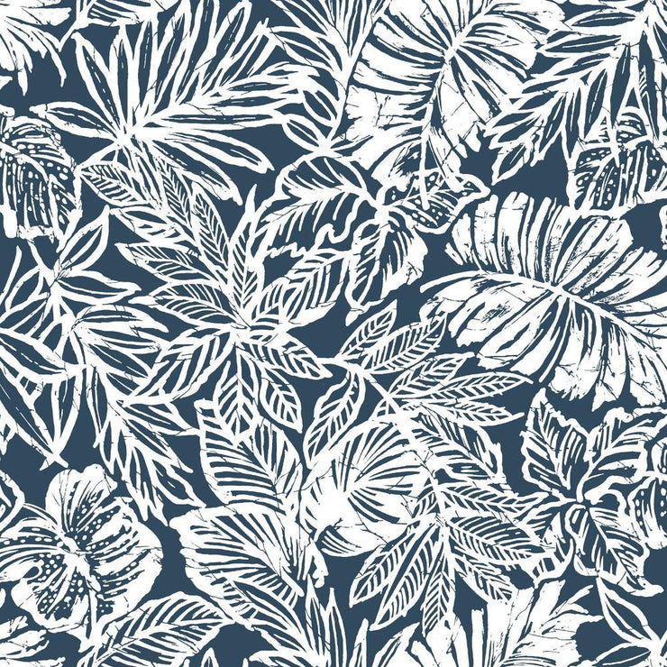 Batik Tropical Leaf Peel and Stick Wallpaper blue