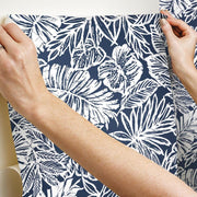 Batik Tropical Leaf Peel and Stick Wallpaper blue hang