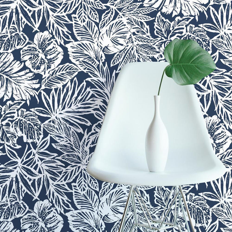 Batik Tropical Leaf Peel and Stick Wallpaper blue roomset 2