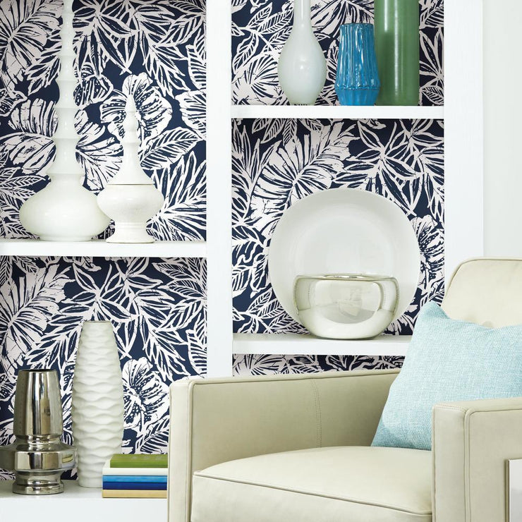 Batik Tropical Leaf Peel and Stick Wallpaper blue roomset 3