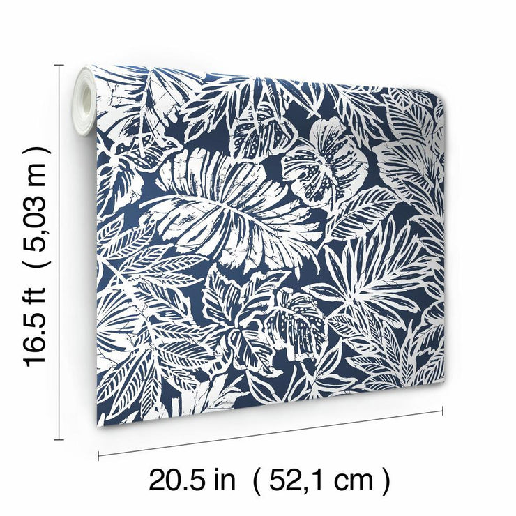 Batik Tropical Leaf Peel and Stick Wallpaper blue roll