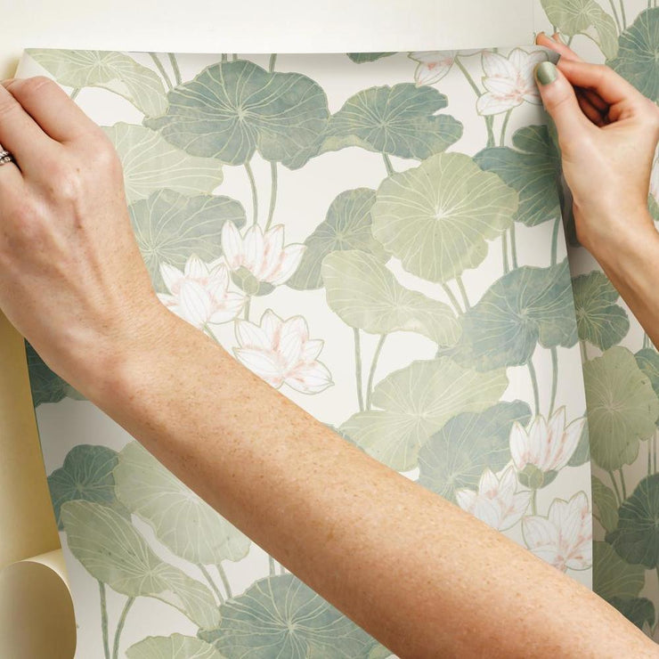 Lily Pad Peel and Stick Wallpaper beige hang