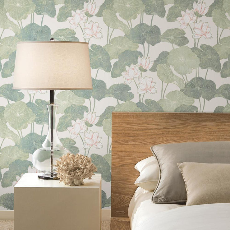 Lily Pad Peel and Stick Wallpaper beige roomset