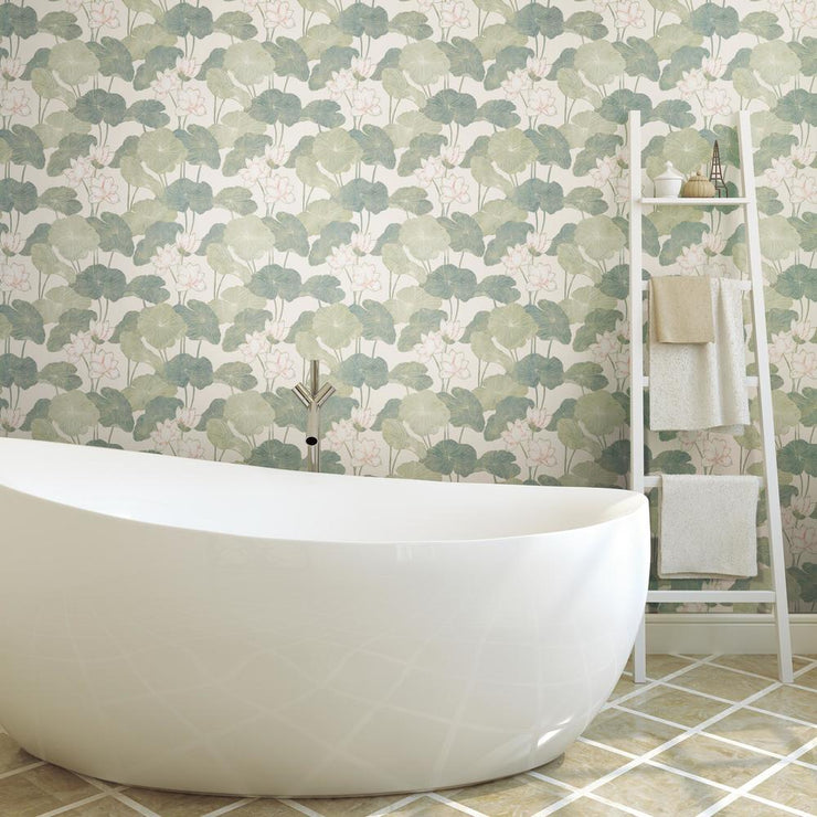 Lily Pad Peel and Stick Wallpaper beige roomset 2