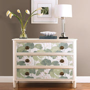 Lily Pad Peel and Stick Wallpaper beige roomset 3