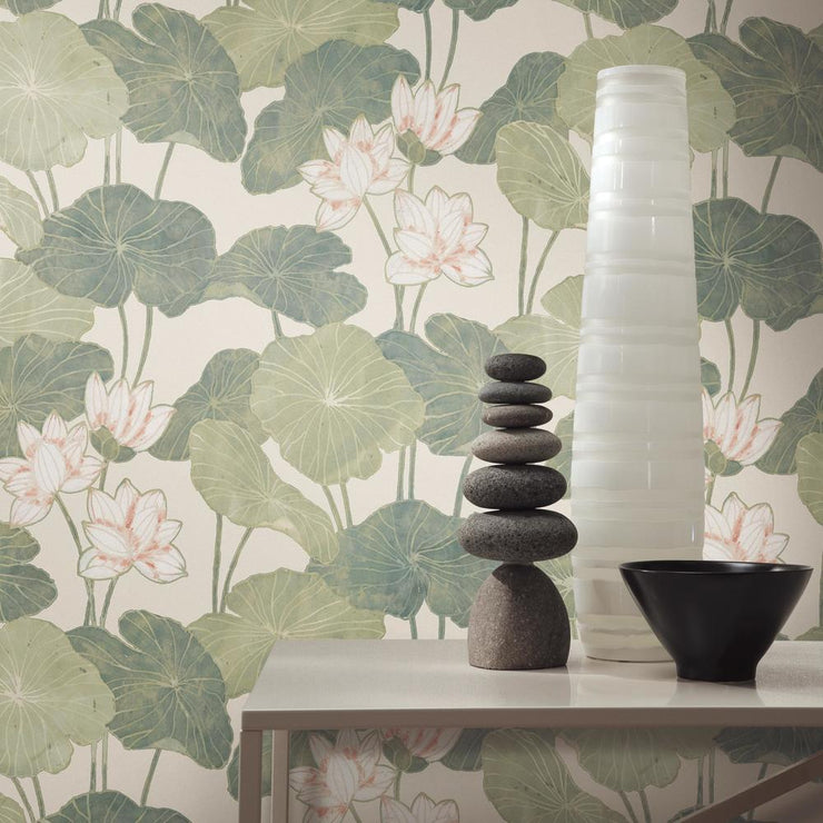 Lily Pad Peel and Stick Wallpaper beige roomset 4