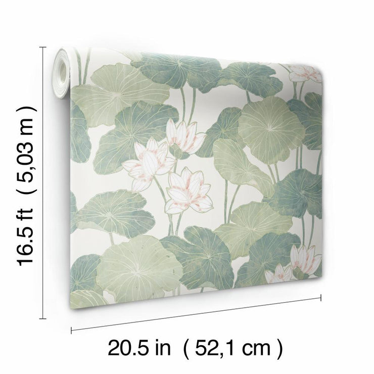 Lily Pad Peel and Stick Wallpaper beige roll