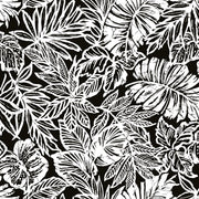 Batik Tropical Leaf Peel and Stick Wallpaper black