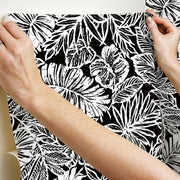 Batik Tropical Leaf Peel and Stick Wallpaper black hang