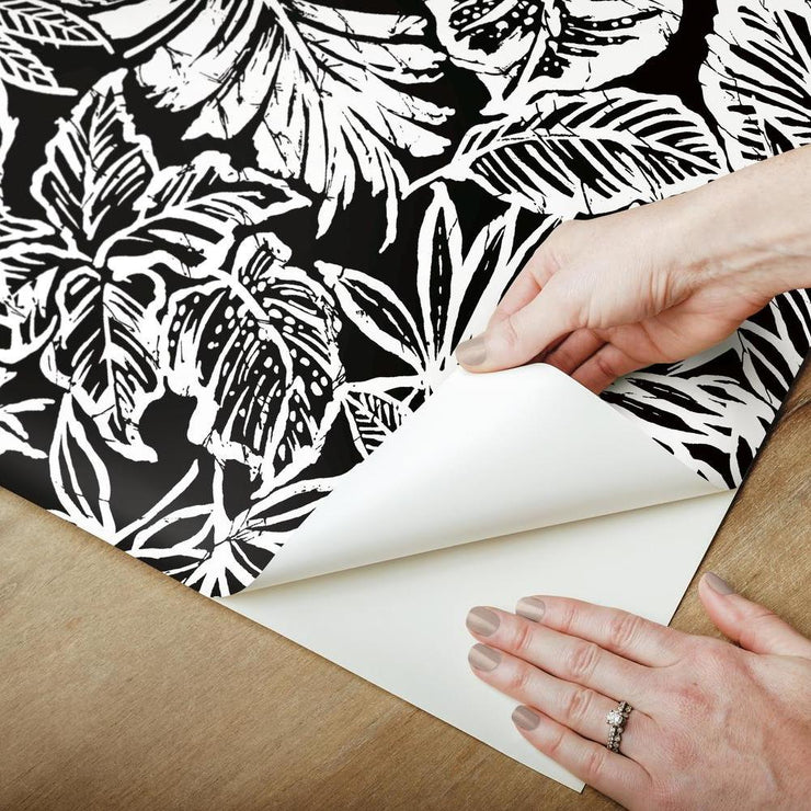 Batik Tropical Leaf Peel and Stick Wallpaper black peel