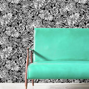 Batik Tropical Leaf Peel and Stick Wallpaper black roomset