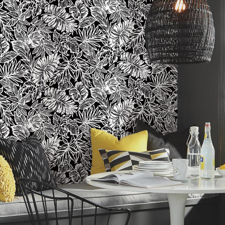 Batik Tropical Leaf Peel and Stick Wallpaper black roomset 2