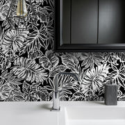 Batik Tropical Leaf Peel and Stick Wallpaper black roomset 3