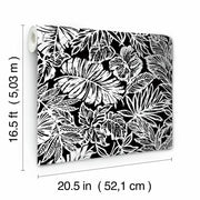 Batik Tropical Leaf Peel and Stick Wallpaper black roll