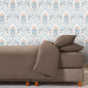 Persian Damask Peel and Stick Wallpaper orange roomset 1