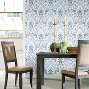 Persian Damask Peel and Stick Wallpaper blue roomset 2